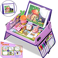 Jojoin Purple Car Play Tray for Kids, Snack & Play Travel Tray with Detachable Tablet Support & 2 Side Zipper Protection Bags Car Seat Activity Tray for Car/Stroller/Plane