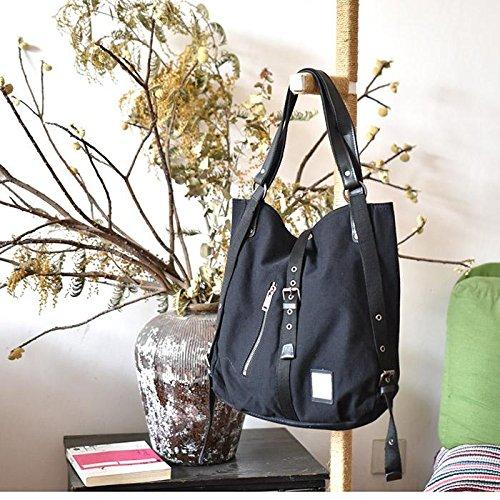 &ZHOU femminile borsa di tela borsa a tracolla grande capacità zaino Messenger Messenger bag di svago di modo 37 * 10 * 38 cm , black Black
