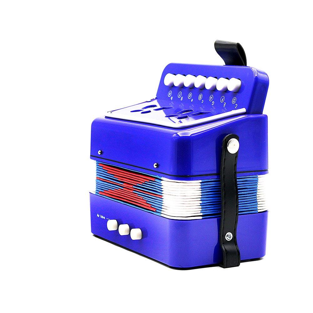 ammoon Mini Fisarmonica Bambini 7-Key 2 Basso Piccolo Strumento Musicale Rhythm Band Giocattolo