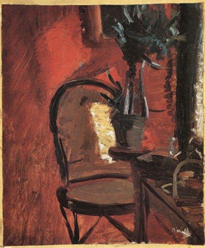 Roter Stuhl Galerie (Das Museum Outlet–Stuhl mit eine Pflanze, vor der roten Wand von Anna Ancher, gespannte Leinwand Galerie verpackt. 147,3x 198,1cm)