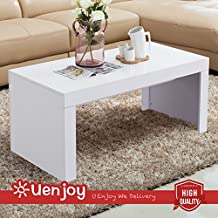 UEnjoy Modern Living Room Furniture High Gloss White Finish Coffee Table