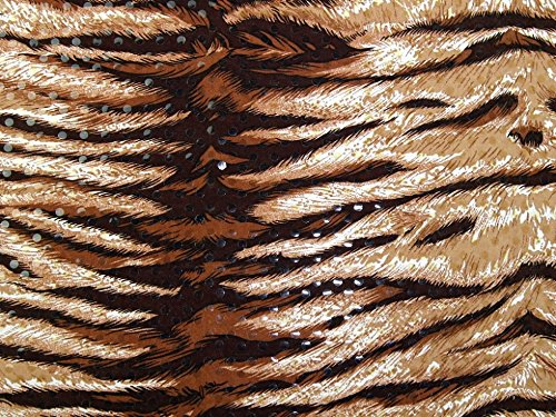 Pailletten Tiger Print Stretch Jersey Kleid Stoff braun – Meterware (Jersey Animal-print)