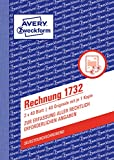 AVERY Zweckform 1732 Rechnung (A6, selbstdurchschreibend, 2x40 Blatt) weiß/gelb -