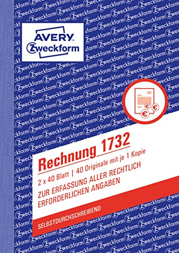 AVERY Zweckform 1732 Rechnung (A6, selbstdurchschreibend, 2x40 Blatt) weiß/gelb