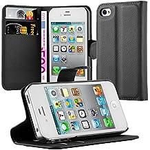 Cadorabo - Funda Apple iPhone 4 / 4S / 4G Book Style de Cuero Sintético en Diseño Libro - Etui Case Cover Carcasa Caja Protección (con función de suporte y tarjetero) en NEGRO-FANTASMA