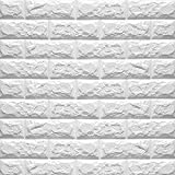 Eizur Abnehmbare 3D Imitation Brick Wandaufkleber Wall Sticker Stereoskopisch Wandtattoo Wasserdicht Kunst Dekoration TV Background Deko Weiß - 70 * 77CM