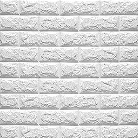Eizur 3D Imitation Brique Stickers Muraux Papier Peint Home Decor Autocollants étanches Amovible Stéréoscopique Décorations pour TV Fond Chambre Restaurant Murales Salle de Séjour Taille 70*77cm--Blanc