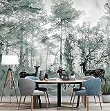 Moose Woods Fresco Wallpaper Nordic Wallpaper Modernes einfaches TV-Hintergrundbild Wohnzimmer Schlafzimmer, 400 × 200 cm