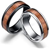 Reizteko 2 PCS Men's Titanium Ring Band, Wedding Ring with Real Wood Inlay, 8mm Comfort Fit Sizes 6 to 13