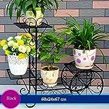 Eisen Blumenrahmen Blume Boden Rahmen Wohnzimmer Balkon Innen-Vielzweck-Blumen-Rack (68 * 24 * 67cm) ( Farbe : Schwarz )