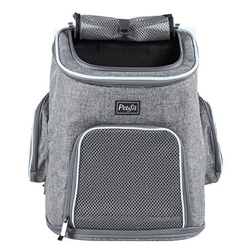 Petsfit Haustier-Reise-Rucksack mit Kopfluke, Tragerucksack für Hunde Doppelte Schulterriemen Haustier-Fördermaschinen Beutragerucksack für Hunde, Denim-Blau, 30cm x 24cm x 41cm