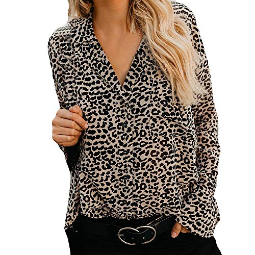 994ccb5333 HLHN Women Tops Leopard Print T-Shirt Blouse Sexy Casual Long Sleeve  Pullover Winter V