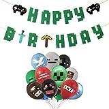 Suministros para Fiestas de Videojuegos Happy Birthday Gaming Banner, 24PCS Video Game Party Balloons Globos de cumpleaños pa