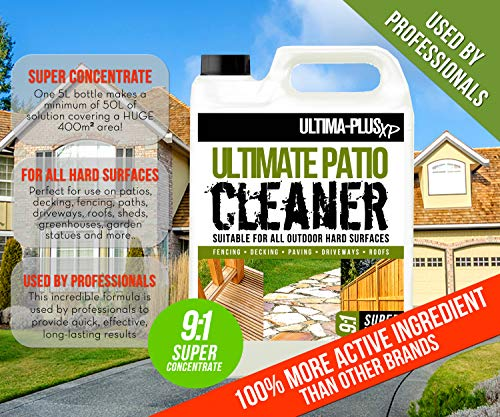 ULTIMA-PLUS XP Patio Cleaner - For All Outdoor Hard Surfaces Including Patio, Fencing & Decking - Most Powerful On The Market - 100% More Active Ingredient Than Other Brands 2 x 5 Litres