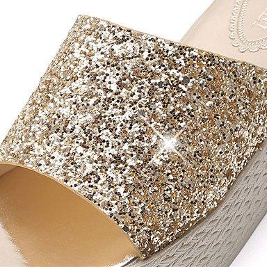 LvYuan Da donna Sandali PU (Poliuretano) Primavera Estate Brillantini Piatto Oro Nero Argento 5 - 7 cm Gold