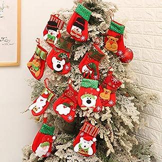 kungfu Mall 12 Unidades de Calcetines de Navidad para Colgar en el árbol de Navidad, Bolsa de Regalo, Calcetines de Papá Noel para decoración de Navidad