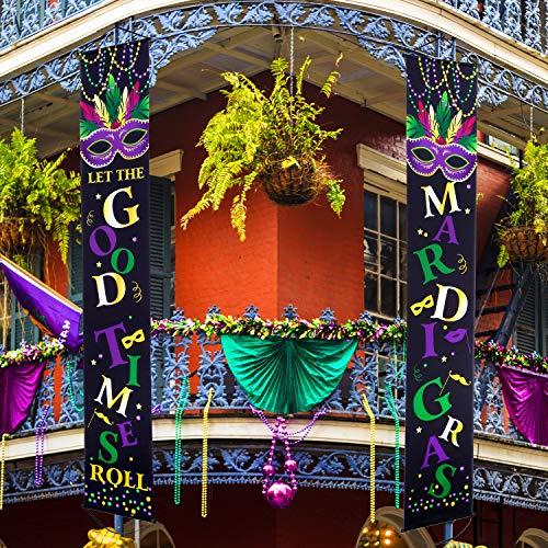 Set decorazioni di mardi gras segno del portico mardi gras welcome bandiera decorazione sospesa mardi gras per interno/esterno decorazioni mardi gras masquerade party (nero, 2 pezzi)
