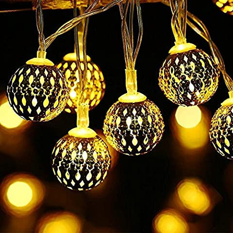Hugoo Solar Christmas lights outdoor lights string lights with Morocco-Ball for Halloween, Christmas, Holiday, Party, Landscape and Garden Decoration -Pack