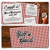 Einladungskarten zum Geburtstag (40 Stück) Hütt'n Gaudi Frühschoppen O'zapft is! Oktoberfest in Rot