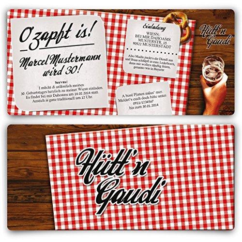 Einladungskarten zum Geburtstag (30 Stück) Hütt\'n Gaudi Frühschoppen O\'zapft is! Oktoberfest