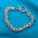 Aoligei Weibliche Silberarmband Runde Schnalle Gewand Armband herrschsüchtigen Männern und Frauen Stil Schmuck Handgefertigte Armband