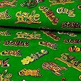 Stoffe Werning Nickistoff Graffiti Style Schriften grün