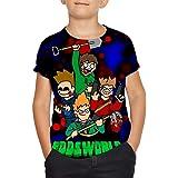 EDD-s-World-Hero Youth tee Camisas Cortas Camiseta de Moda con Estampado de Dos Lados Niños Niñas