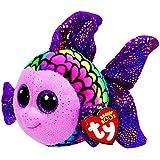 TY 37242 - Flippy - Fisch Pluschtier mit Glitzeraugen  Glubschi's  Beanie Boo's, 15 cm, mehrfarbig