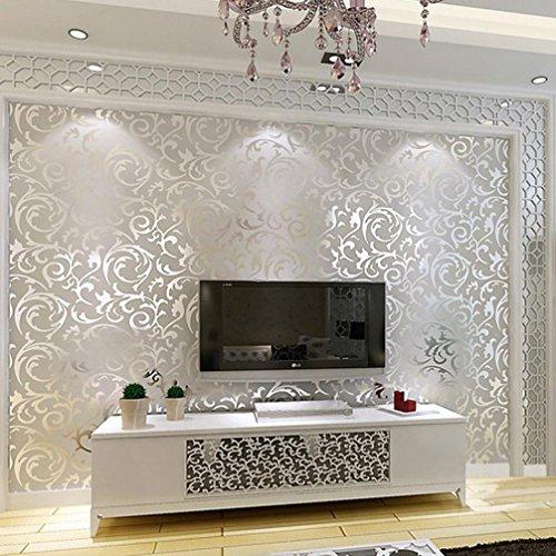 *Gaddrt 10M Luxus 3D viktorianischen Damast prägeartigen Tapeten Rolls Kunst Wandtattoo Aufkleber DIY Küche Badezimmer Wohnzimmer Schlafzimmer moderne Hintergrund TV Dekor (Silber)*