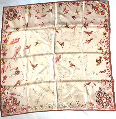 beiges-longchamp-seidentuch-89-x-89cm-vogelmotive-schal-foulard-seide-carre-scarve