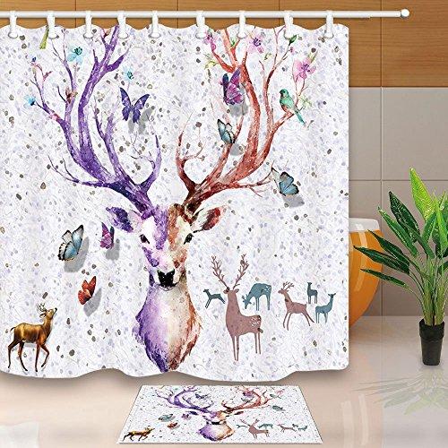 Kreativität Vorhang für die Dusche von Watercolor Deer Schmetterling Kunst Druck 180x 180cm Schimmelresistent Duschvorhang Set mit 60x 40cm Flanell rutschfeste Boden Fußmatte Bad Teppiche - Runde Rod Druck-vorhang