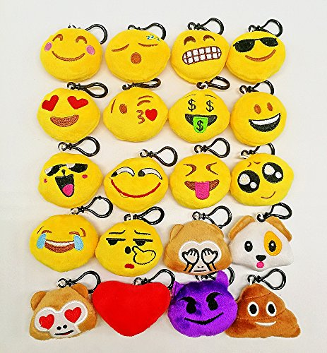 SYOO 20 Stücke mini Emoji Schlüsselanhänger Durchmesser 5cm Smileys Plüsch Kissen Stil Tasche Anhänger, Geschenk für Geburtstag Kinderparty Babyparty Garten Party