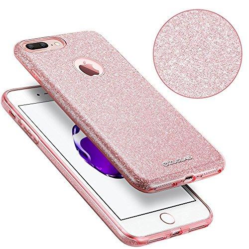 ZUSLAB iPhone 8 Plus / iPhone 7 Plus Hülle, Schutzhülle Weiche TPU Abdeckung Glitzer Papier PC innere Schicht Drei in Einem Hülle für iPhone 8 Plus / iPhone 7 Plus [Rosy][Rosengold] Gold