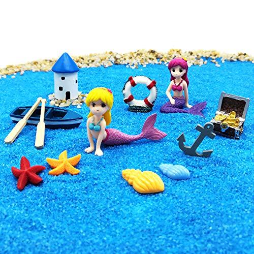 EMiEN statuine forma di sirena miniatura per giardino delle fate kit di decorazioni fai da te per casa delle bambole paesaggio oceano accessori da