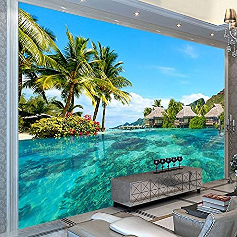 Ohcde Dheark Custom 3D Fototapete Hd Malediven Meer Strand Landschaft Fotografie Wohnzimmer Tv Hintergrund Wandmalerei Wandbild 300Cmx210Cm(118.1 By 82.7