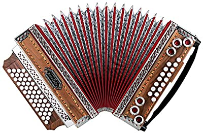 Alpenklang 4/III Harmonika Deluxe SE G-C-F-B Nuss (Steirische Harmonika/Knopfakkordeon, Moll auf Druck, Blumendesign, Holz, mit Koffer und Riemen)