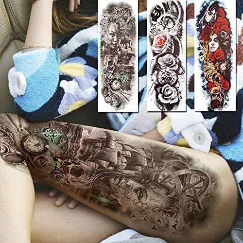 Grandi tatuaggi temporanei 3d per donna uomo fiore rose death skull tatuaggi adesivo braccio completo manica in tattooss con body art