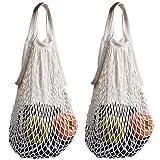 stonges 2Baumwolle Net Einkaufstasche sparsam und umweltfreundlich Tasche Organizer einfach zu tragen white+white