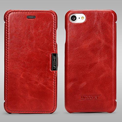Urcover® Apple iPhone 7 / 8 Echt Leder Handy Schutz-Hülle | Lederhülle Rot | Spruch Wallet Cover | Klapp-Funktion Schale | Tasche | Etui klappbar | Smartphone Zubehör Rot