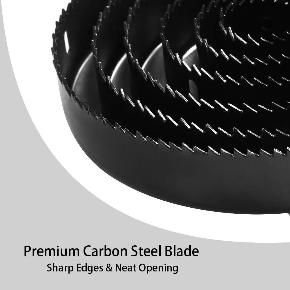 PVC Y Pl/ástico,Ideal para Taladro Bater/ía Coronas Perforadoras Meterk 17 PCS Sierras Perforadoras Taladro Percutor,etc. Perforar en Madera 13 Discos: 19 mm-152 mm