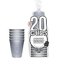 Pack de x20 Original Silver Cups Officiels | Gobelets Américains 53cl Argentés | Beer Pong | Qualité Premium | Gobelets…