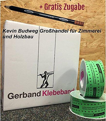 Preisvergleich Produktbild Klebeband Gerband 586 Folienklebeband 50mm x 25m (Rolle) Dampfbremse Gewebe inkl. 1x Eurotec Bleistift je Bestellung