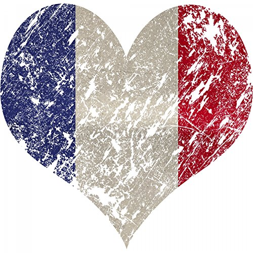 EM 2016 I Love France - Damen T-Shirt von Fashionalarm | Shirt für Fußball Fans | Print im Vintage Destroyed Used Look | Europameisterschaft Europameister Trikot Herz Frankreich Weiß