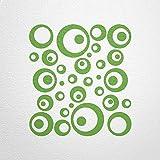 WANDfee Wandtattoo 50 Retro Kreise AC0711212 Größe Ø 2 x 20 cm, 6 x 15 cm, 10 x 10 cm, 20 x 6 cm, 12 x 3 cm Farbe hellgrün hellgrün