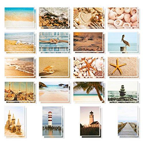 (40Stück alle Anlass sortiert blanko POST Karten gruß Bulk Box Set–Nautische Strand Seashell Leuchtturm Designs–Postkarten 10,2x 15,2cm)