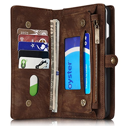 Leather Wallet Phone Case iPhone 6/iPhone 6S/iPhone 6 Plus/iPhone 6S Plus/iPhone 7/iPhone 7 Plus/S7 Edge/S7,Premium Zipper Flip Wallet Case Cover With Detachable Magnetic Hard Case