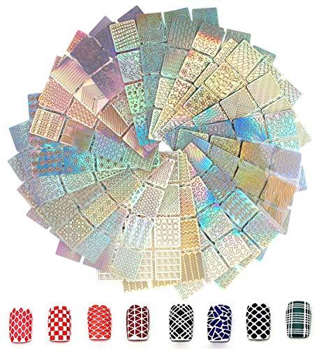 288 Stück Nagelaufkleber Schablonen, AOBETAK Nagel Schablone Vinyls Aufkleber Set, 24 Blätter 96...