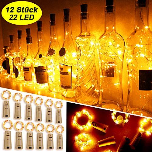 Mr.Twinklelight® Flaschen-Licht, 12 Stück 22 LED 2.2M Flaschenlichter Warmweiß Lichterketten Kupferdraht Weinflasche Lichter Kork Schnurlicht für DIY Deko,Weihnachten, Stimmungslichter