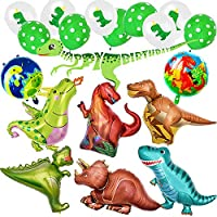 Dinosaur Balloons Party Decorations Huge Size Dinosaur x8pcs plus Colorful Dinosaur Pattern Latex Balloons x10pcs and A Dinosaur Banner.Jungle Style for Birthday Party Etc.All in Ánimo balloon.