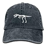 Aoliaoyudonggha Men&Women T Rex Dinosaur Skeleton Adjustable Vintage Washed Denim Cotton Dad Hat Baseball Hat Black